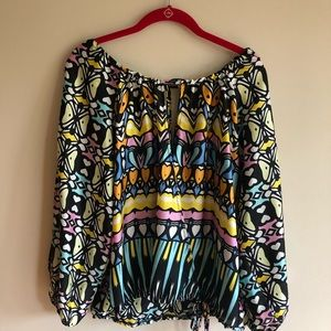 Glam women's cross front printed blouse